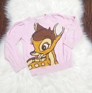 DISNEY Bambi Girl Pink Knit H&M Long Sleeve